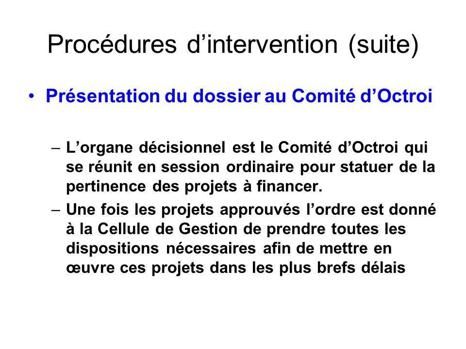 Procédures dintervention (suite) Présentation du dossier au Comité dOctroi –Lorgane décisionnel est le Comité dOctroi qui se réunit en session ordinai