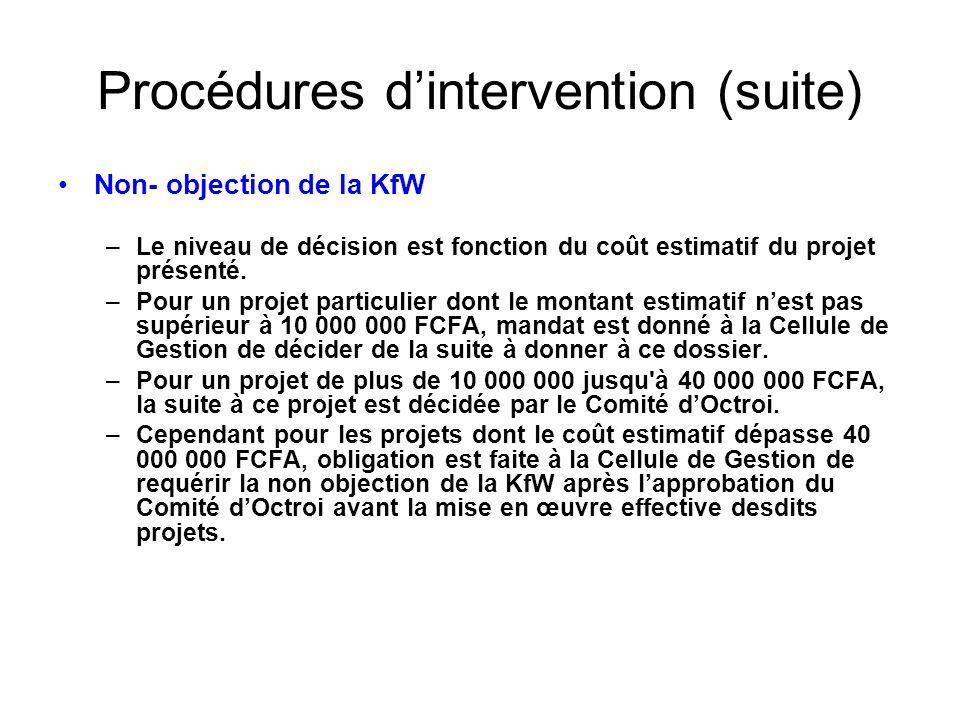 Procédures dintervention (suite) Non- objection de la KfW –Le niveau de décision est fonction du coût estimatif du projet présenté. –Pour un projet pa