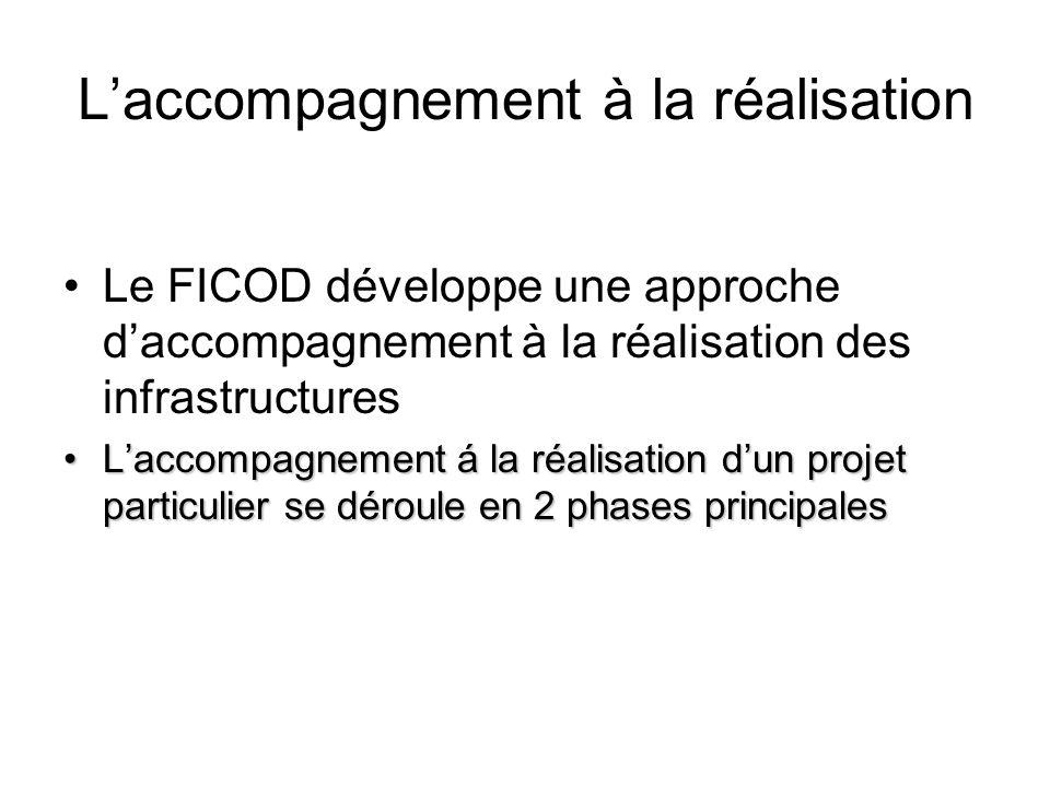 Laccompagnement à la réalisation Le FICOD développe une approche daccompagnement à la réalisation des infrastructures Laccompagnement á la réalisation