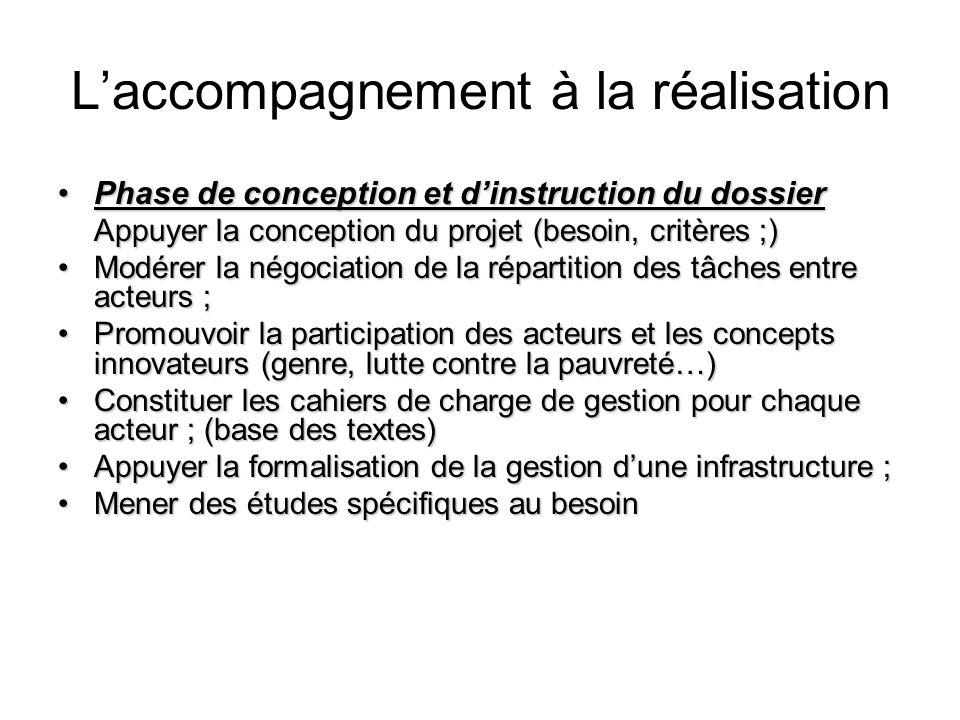 Laccompagnement à la réalisation Phase de conception et dinstruction du dossier Appuyer la conception du projet (besoin, critères ;)Phase de conceptio