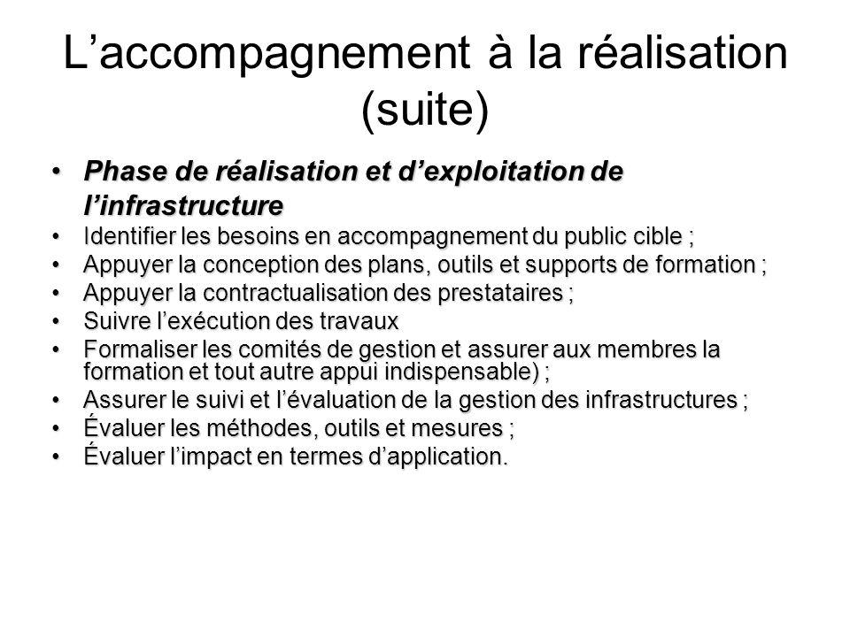 Laccompagnement à la réalisation (suite) Phase de réalisation et dexploitation de linfrastructurePhase de réalisation et dexploitation de linfrastruct