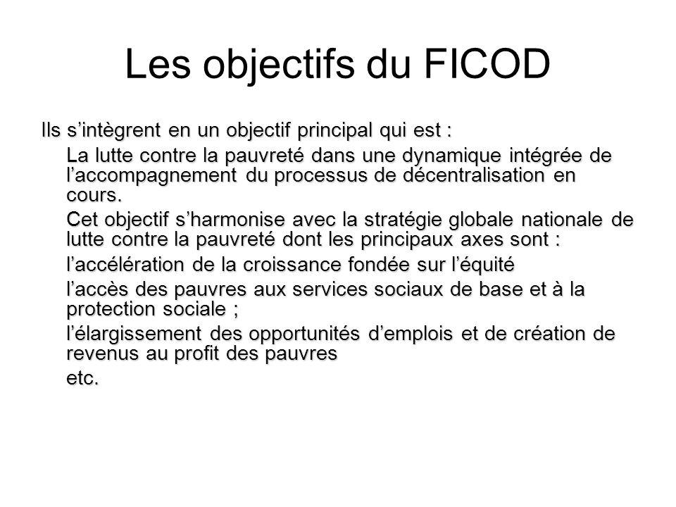 Les objectifs du FICOD Ils sintègrent en un objectif principal qui est : La lutte contre la pauvreté dans une dynamique intégrée de laccompagnement du