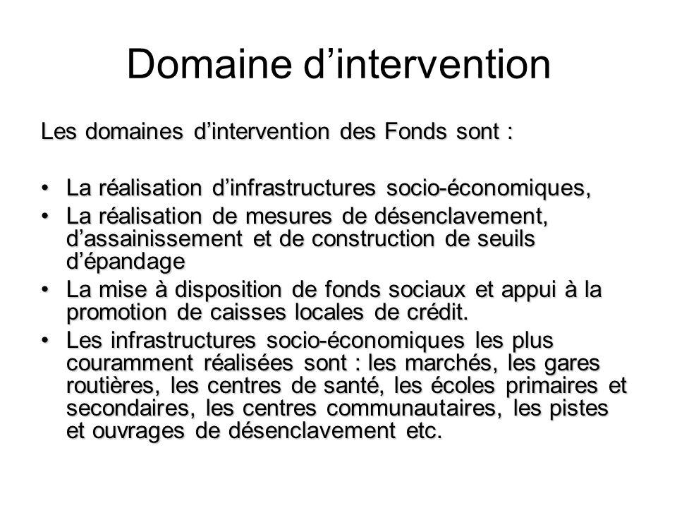 Domaine dintervention Les domaines dintervention des Fonds sont : La réalisation dinfrastructures socio-économiques,La réalisation dinfrastructures so