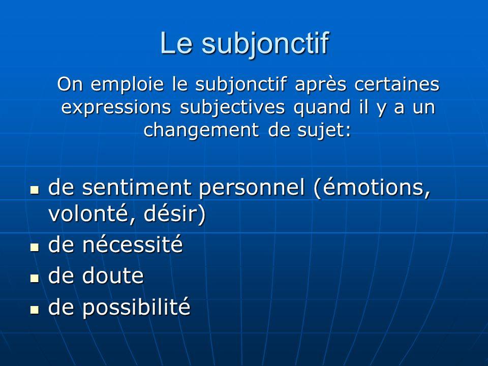 Le subjonctif de sentiment personnel (émotions, volonté, désir) de sentiment personnel (émotions, volonté, désir) de nécessité de nécessité de doute d