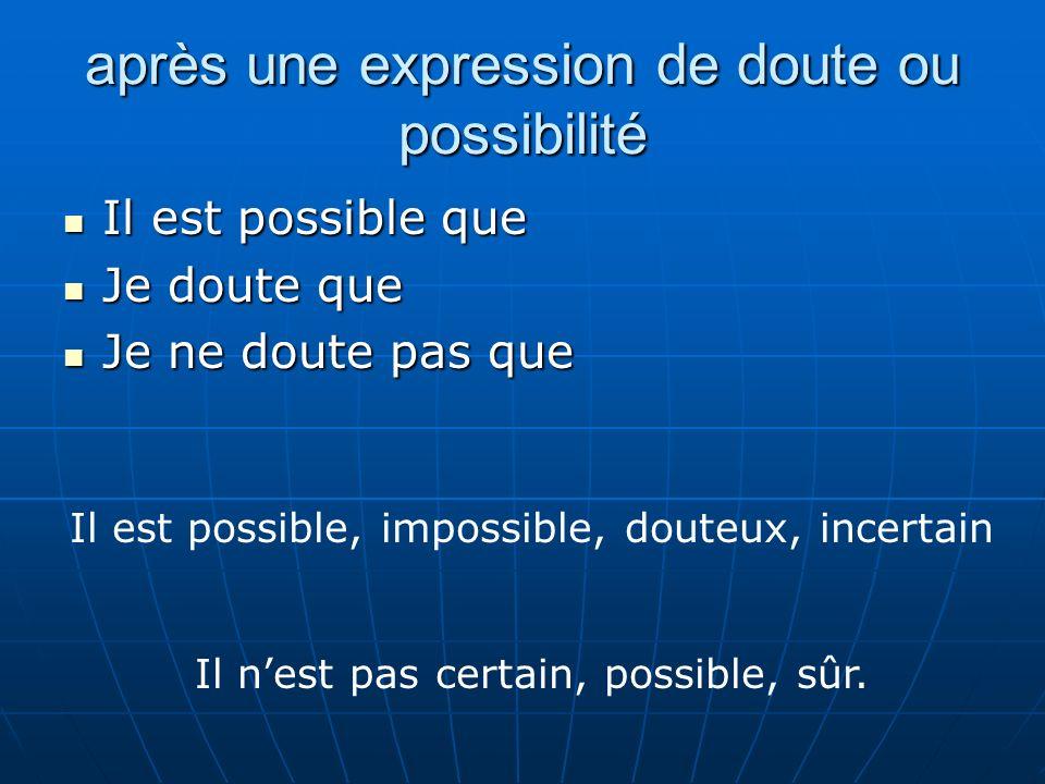après une expression de doute ou possibilité Il est possible que Il est possible que Je doute que Je doute que Je ne doute pas que Je ne doute pas que