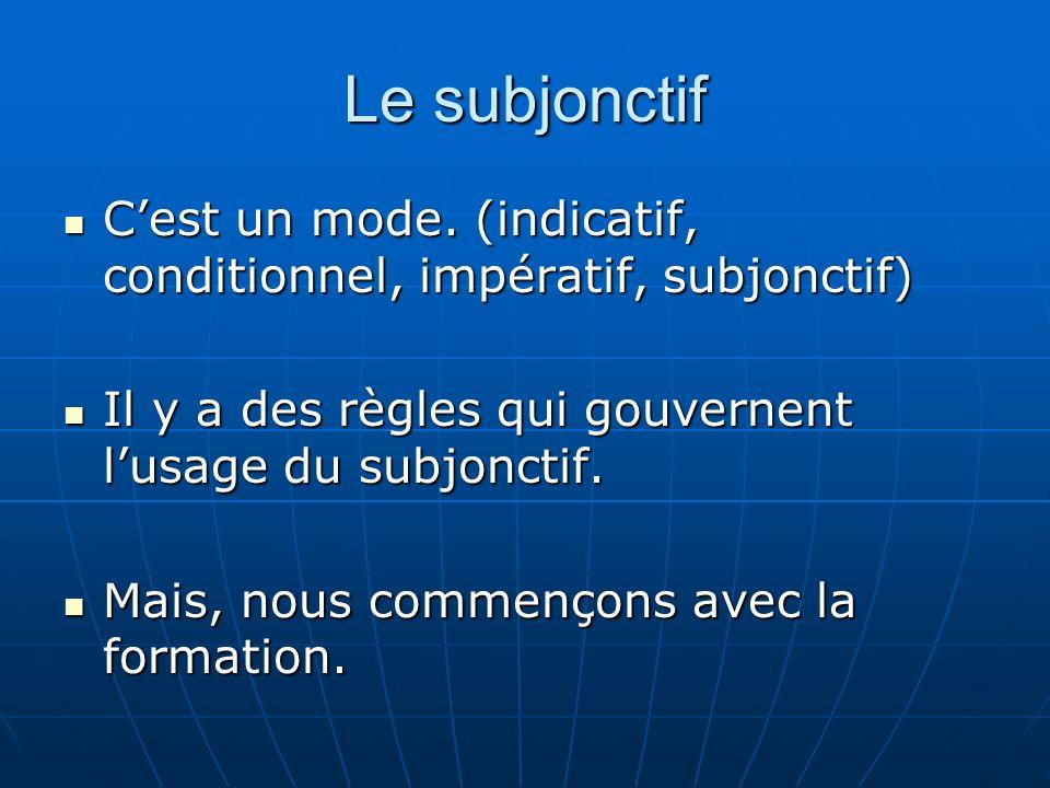 la racine du subjonctif tous les verbes, sauf neuf, forment leur subjonctif sur la troisième personne du pluriel du présent de lindicatif.