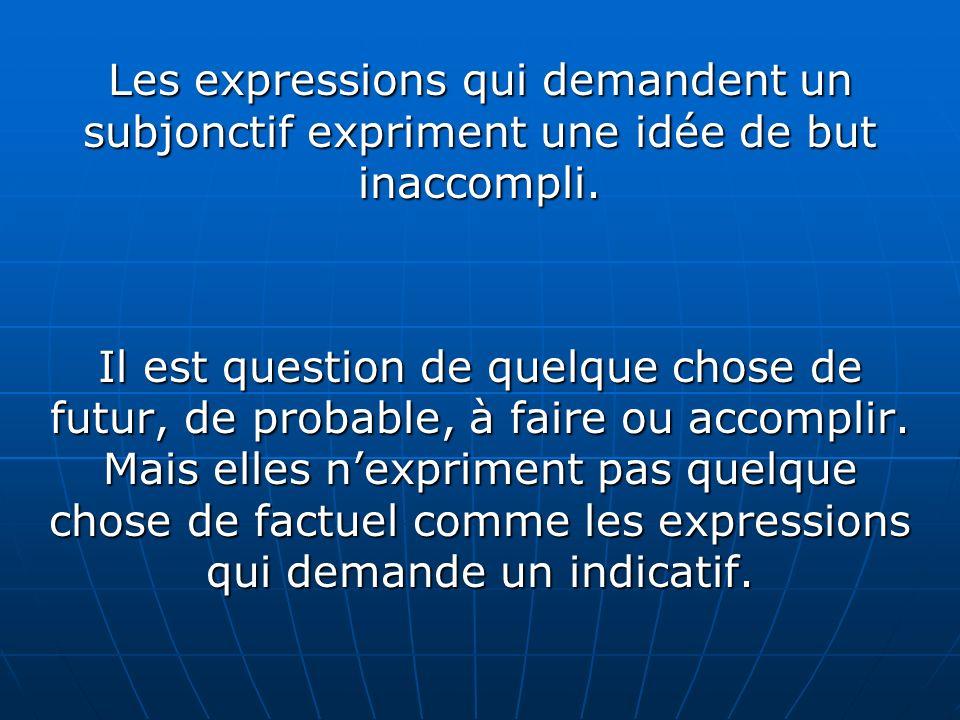 Les expressions qui demandent un subjonctif expriment une idée de but inaccompli. Il est question de quelque chose de futur, de probable, à faire ou a