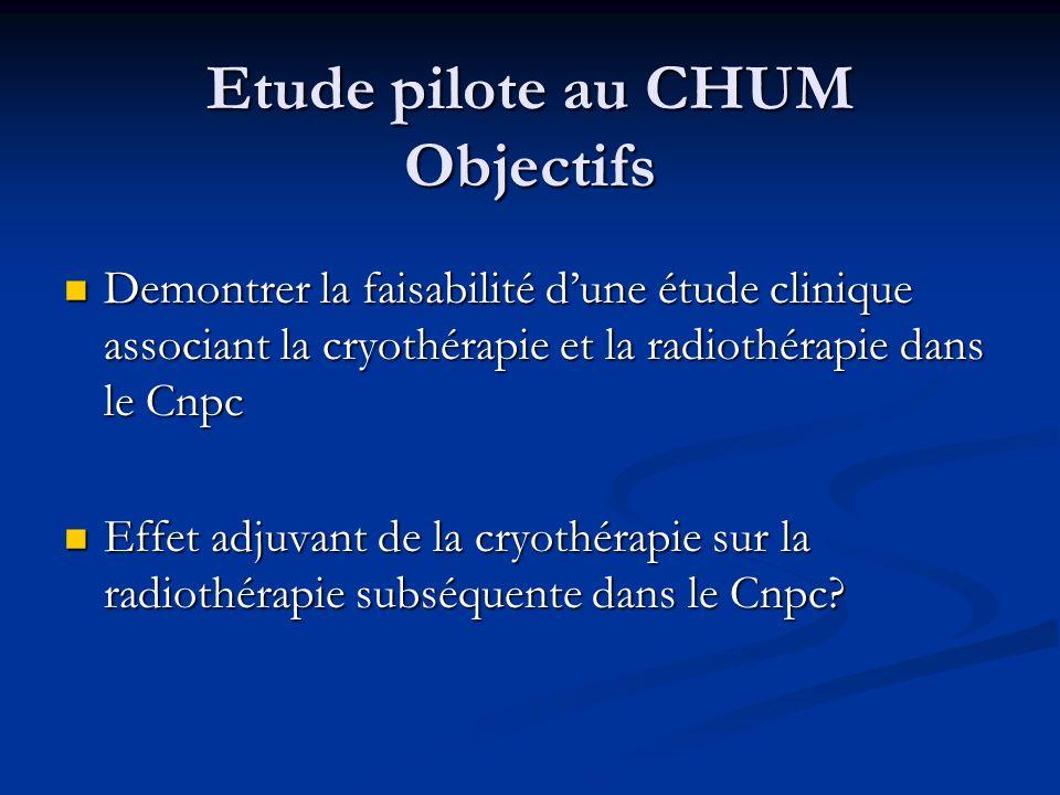 Etude pilote au CHUM Objectifs Demontrer la faisabilité dune étude clinique associant la cryothérapie et la radiothérapie dans le Cnpc Demontrer la fa