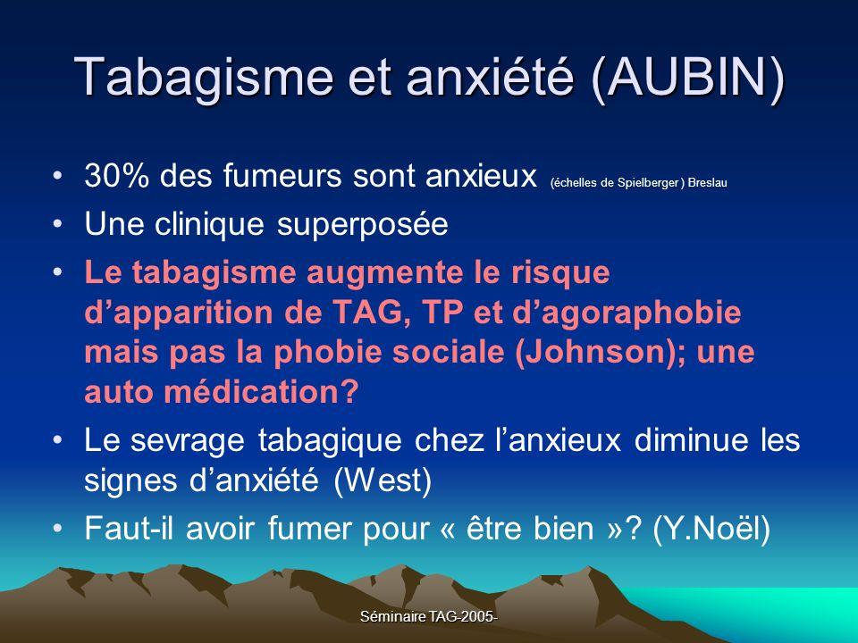 Séminaire TAG-2005- Tabagisme et anxiété (AUBIN) 30% des fumeurs sont anxieux (échelles de Spielberger ) Breslau Une clinique superposée Le tabagisme