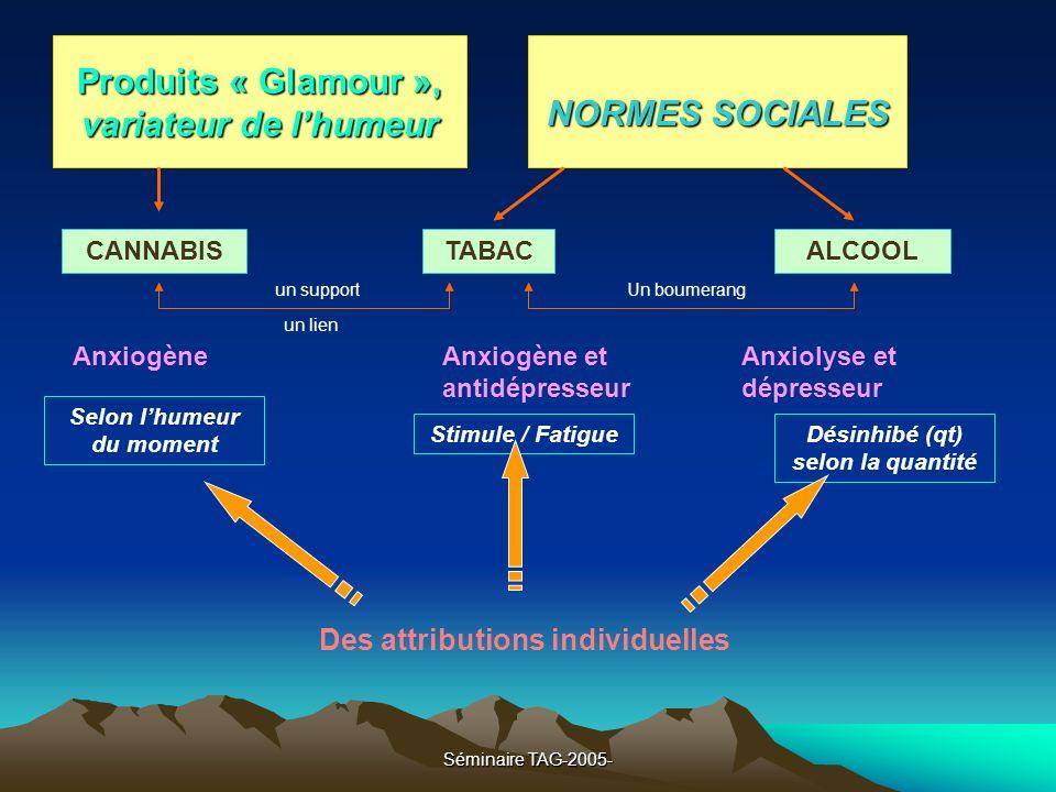 Séminaire TAG-2005- Produits « Glamour », variateur de lhumeur NORMES SOCIALES TABACALCOOLCANNABIS un support un lien Un boumerang AnxiogèneAnxiogène