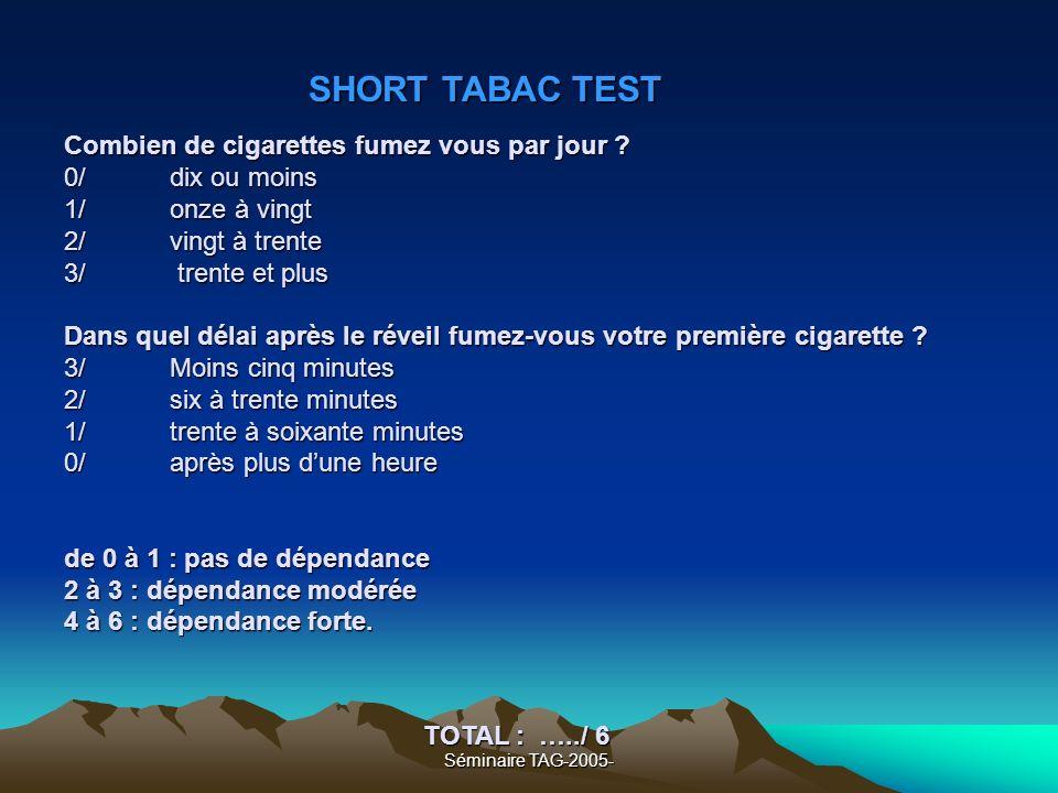 Séminaire TAG-2005- Combien de cigarettes fumez vous par jour ? 0/ dix ou moins 1/ onze à vingt 2/ vingt à trente 3/ trente et plus Dans quel délai ap