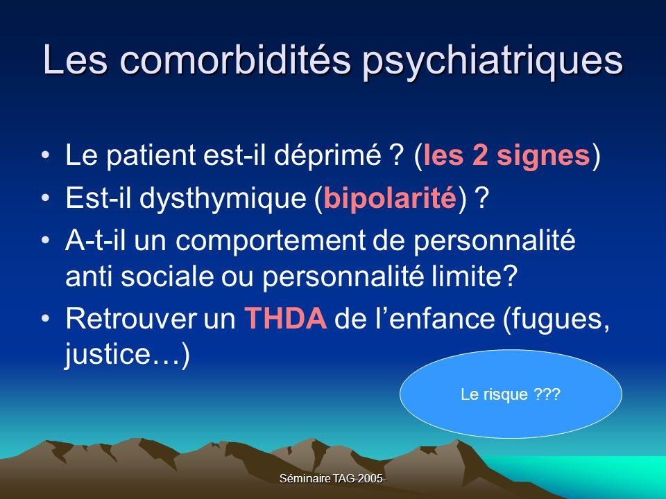 Séminaire TAG-2005- Les comorbidités psychiatriques Le patient est-il déprimé ? (les 2 signes) Est-il dysthymique (bipolarité) ? A-t-il un comportemen