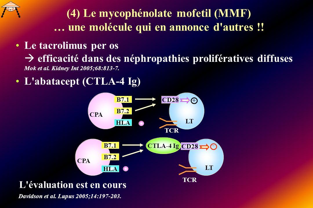 (4) Le mycophénolate mofetil (MMF) … une molécule qui en annonce d'autres !! Le tacrolimus per os efficacité dans des néphropathies prolifératives dif
