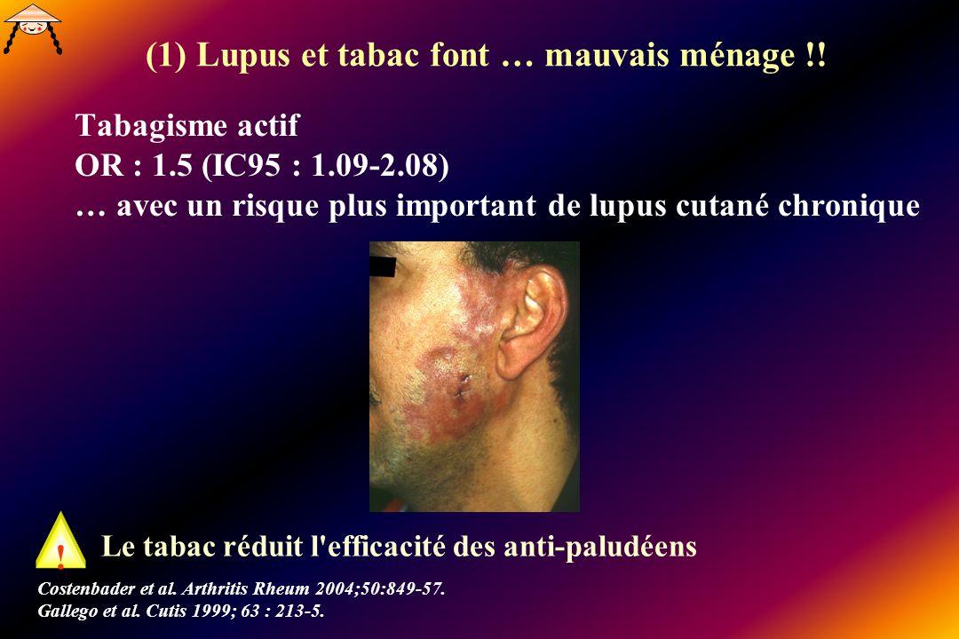 (1) Lupus et tabac font … mauvais ménage !! Tabagisme actif OR : 1.5 (IC95 : 1.09-2.08) … avec un risque plus important de lupus cutané chronique Cost