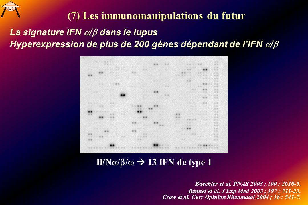 La signature IFN / dans le lupus Hyperexpression de plus de 200 gènes dépendant de lIFN / Baechler et al. PNAS 2003 ; 100 : 2610-5. Bennet et al. J Ex