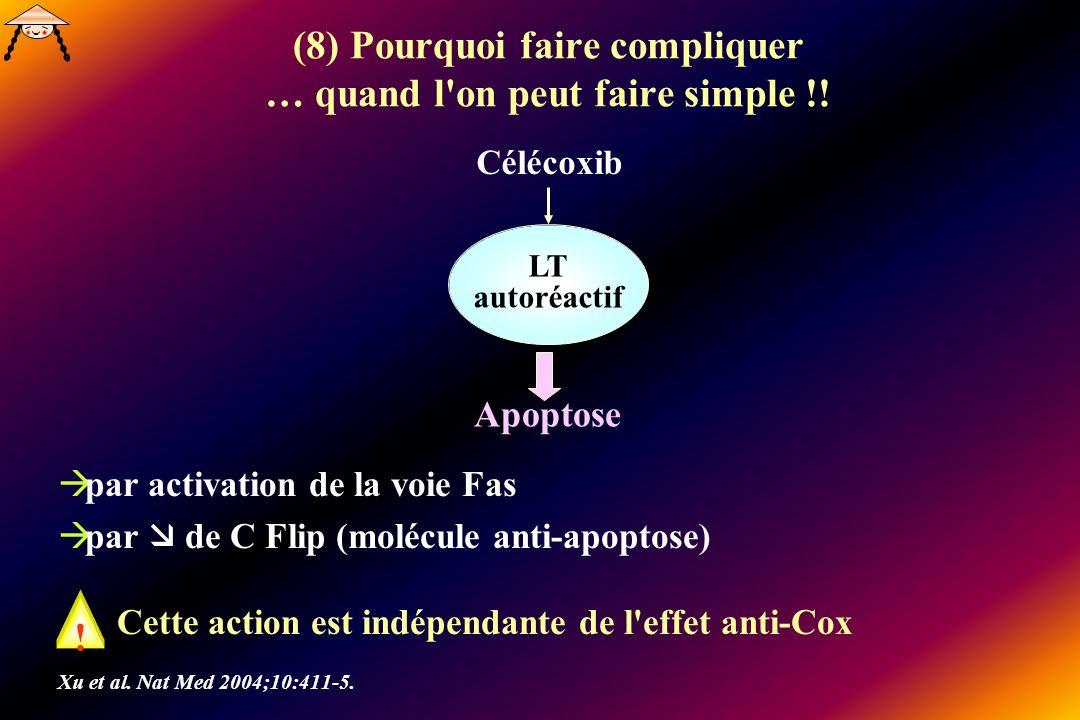 (8) Pourquoi faire compliquer … quand l'on peut faire simple !! par activation de la voie Fas par de C Flip (molécule anti-apoptose) Cette action est