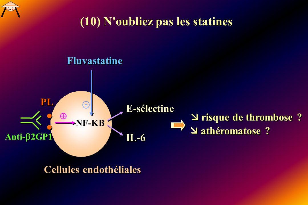 NF-KB Fluvastatine Cellules endothéliales PL Anti- 2GP1 E-sélectine IL-6 risque de thrombose ? athéromatose ? - (10) N'oubliez pas les statines