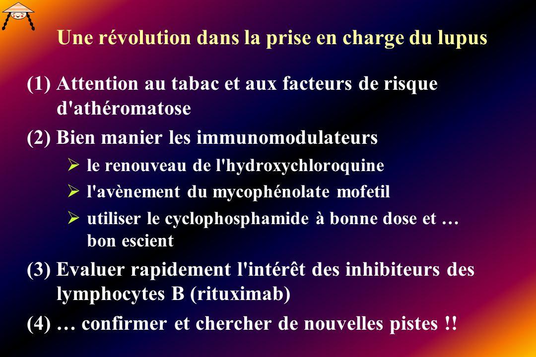 Une révolution dans la prise en charge du lupus (1) Attention au tabac et aux facteurs de risque d'athéromatose (2) Bien manier les immunomodulateurs