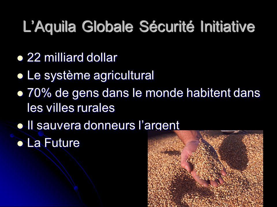 LAquila Globale Sécurité Initiative 22 milliard dollar 22 milliard dollar Le système agricultural Le système agricultural 70% de gens dans le monde ha