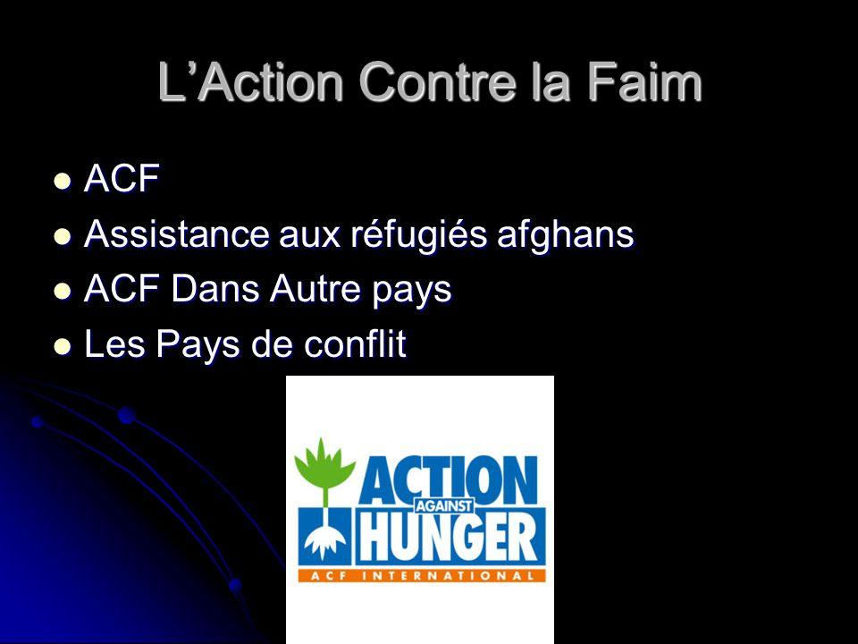LAction Contre la Faim ACF ACF Assistance aux réfugiés afghans Assistance aux réfugiés afghans ACF Dans Autre pays ACF Dans Autre pays Les Pays de conflit Les Pays de conflit