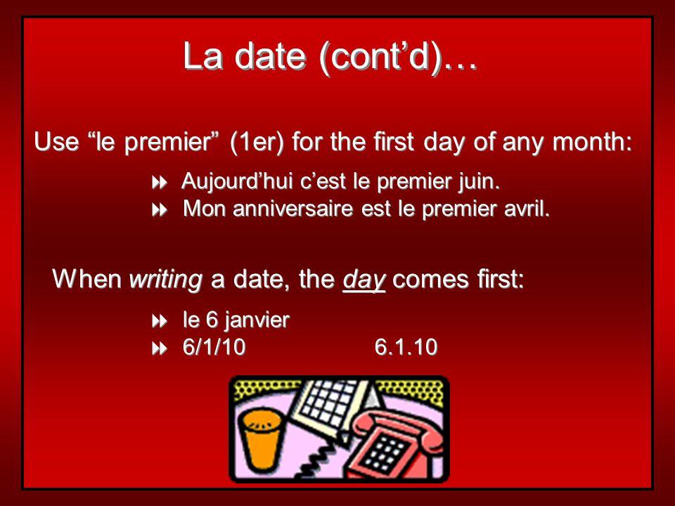 Quelle est la date aujourdhui? Aujourdhui cést le + number + month. Aujourdhui cest le 15 janvier. Demain cest le 23 mai. Lavant-hier cétait le 18 aoû