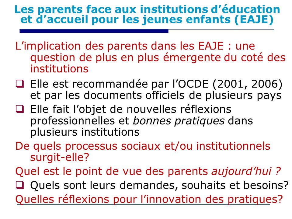 Les parents face aux institutions déducation et daccueil pour les jeunes enfants (EAJE) Limplication des parents dans les EAJE : une question de plus