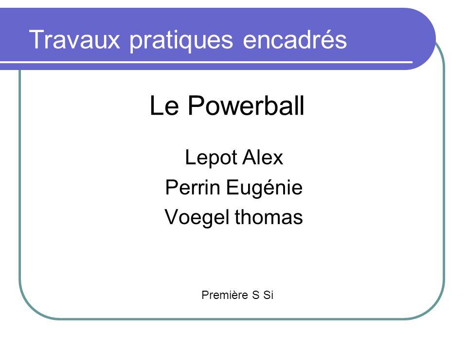 Le Powerball Lepot Alex Perrin Eugénie Voegel thomas Travaux pratiques encadrés Première S Si