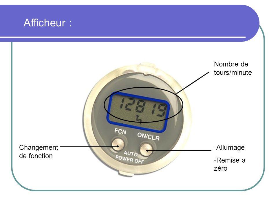 -Allumage -Remise a zéro Changement de fonction Nombre de tours/minute Afficheur :