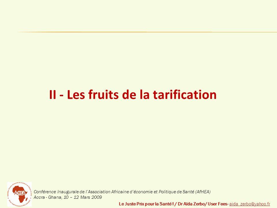 Conférence Inaugurale de lAssociation Africaine déconomie et Politique de Santé (AfHEA) Accra - Ghana, 10 – 12 Mars 2009 II - Les fruits de la tarification Le Juste Prix pour la Santé .