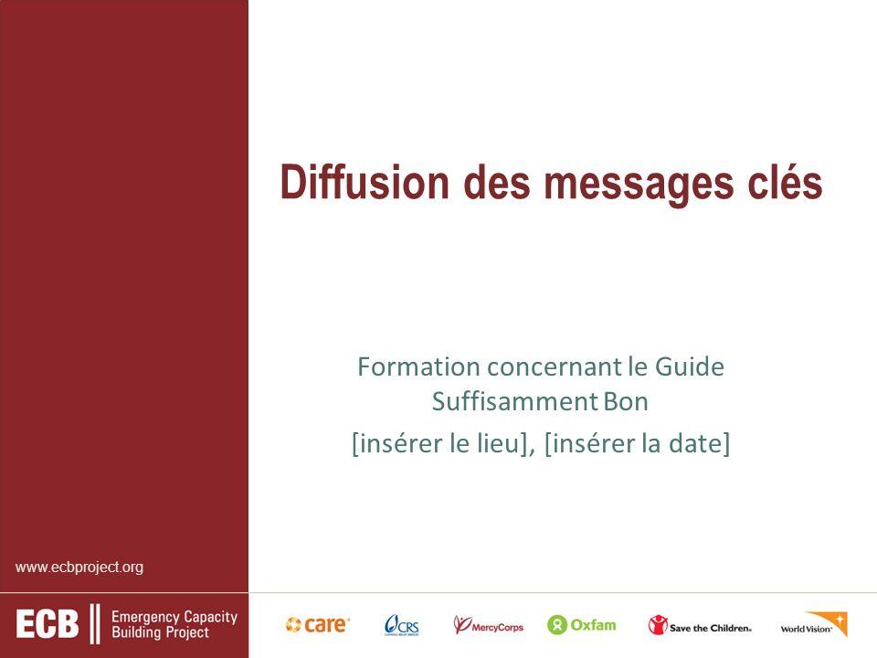 www.ecbproject.org Diffusion des messages clés Formation concernant le Guide Suffisamment Bon [insérer le lieu], [insérer la date]