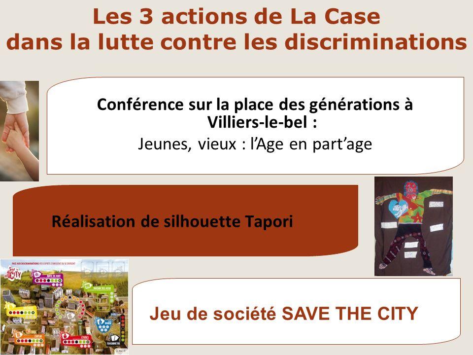 Les 3 actions de La Case dans la lutte contre les discriminations Jeu de société SAVE THE CITY Conférence sur la place des générations à Villiers-le-b