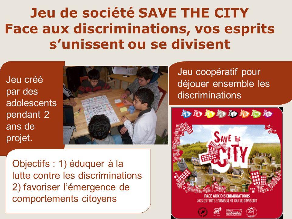 Jeu de société SAVE THE CITY Face aux discriminations, vos esprits sunissent ou se divisent Jeu créé par des adolescents pendant 2 ans de projet.