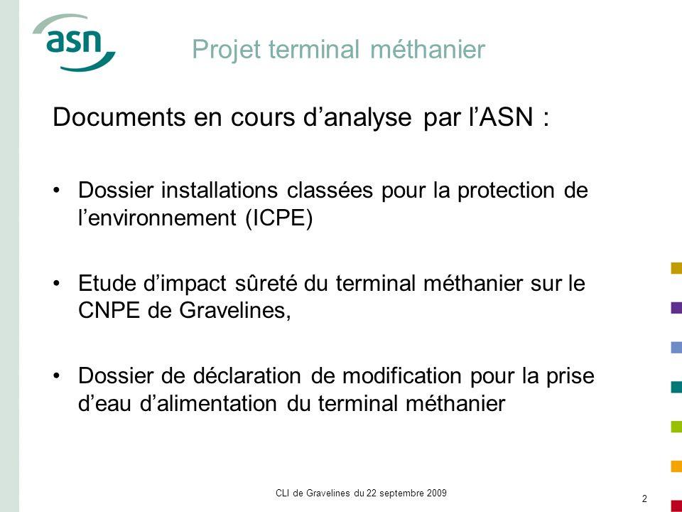 CLI de Gravelines du 22 septembre 2009 2 Projet terminal méthanier Documents en cours danalyse par lASN : Dossier installations classées pour la prote