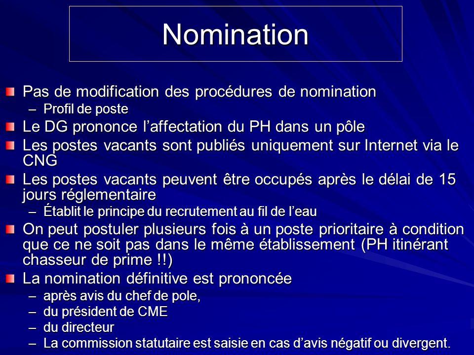 Nomination Pas de modification des procédures de nomination –Profil de poste Le DG prononce laffectation du PH dans un pôle Les postes vacants sont pu
