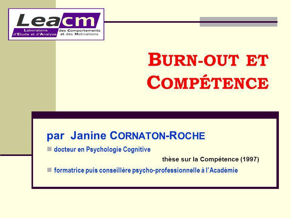par Janine C ORNATON -R OCHE docteur en Psychologie Cognitive thèse sur la Compétence (1997) formatrice puis conseillère psycho-professionnelle à lAca