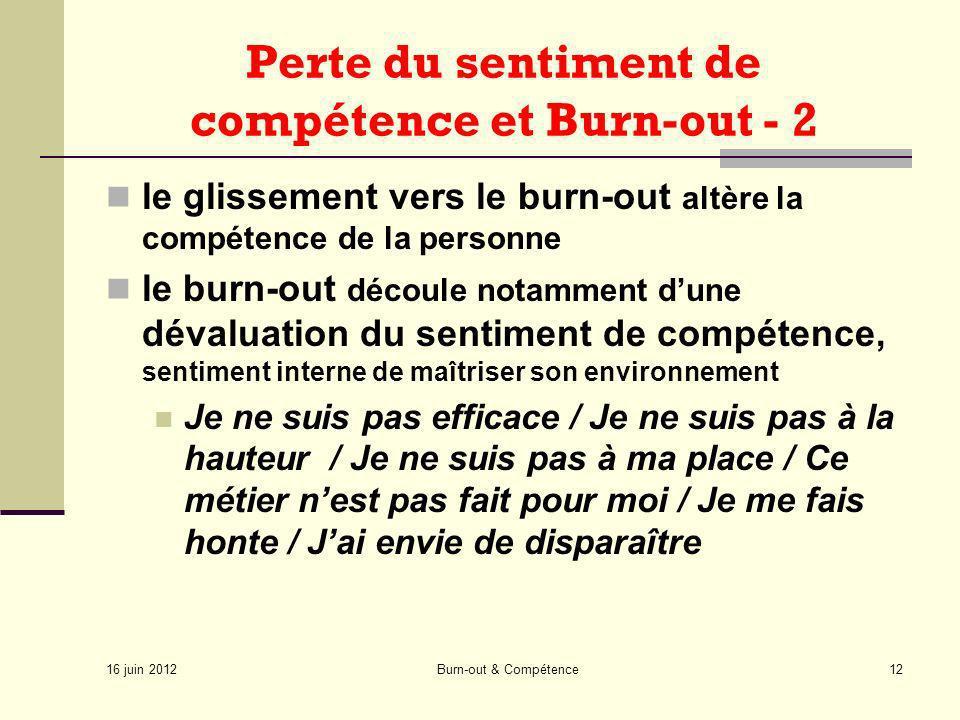 16 juin 2012 Burn-out & Compétence12 Perte du sentiment de compétence et Burn-out - 2 le glissement vers le burn-out altère la compétence de la person
