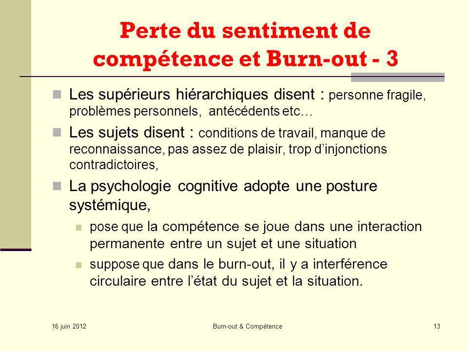 16 juin 2012 Burn-out & Compétence13 Perte du sentiment de compétence et Burn-out - 3 Les supérieurs hiérarchiques disent : personne fragile, problème