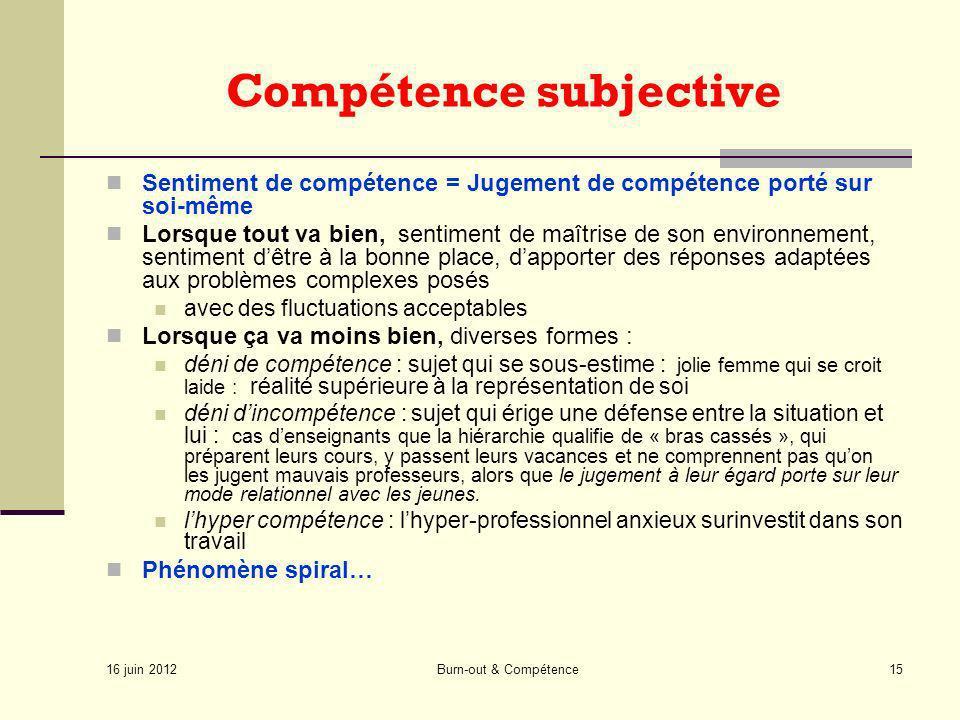 16 juin 2012 Burn-out & Compétence15 Compétence subjective Sentiment de compétence = Jugement de compétence porté sur soi-même Lorsque tout va bien, s