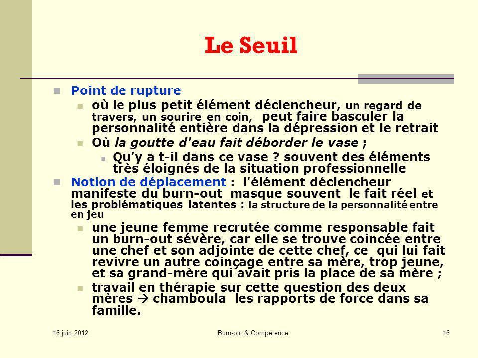 16 juin 2012 Burn-out & Compétence16 Le Seuil Point de rupture où le plus petit élément déclencheur, un regard de travers, un sourire en coin, peut fa