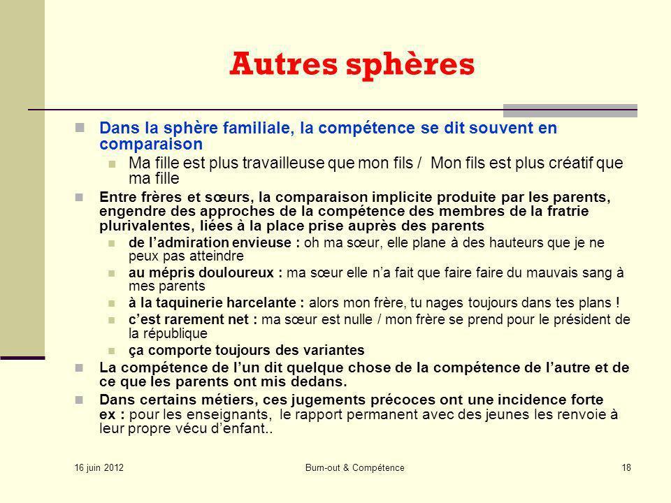 16 juin 2012 Burn-out & Compétence18 Autres sphères Dans la sphère familiale, la compétence se dit souvent en comparaison Ma fille est plus travailleu