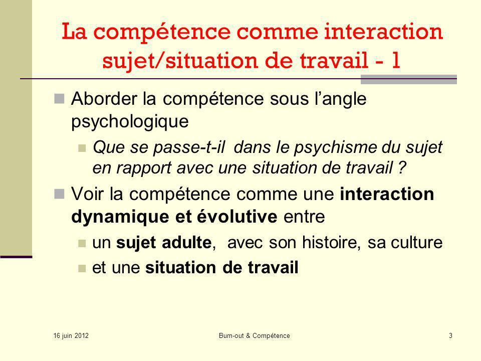 16 juin 2012 Burn-out & Compétence3 La compétence comme interaction sujet/situation de travail - 1 Aborder la compétence sous langle psychologique Que