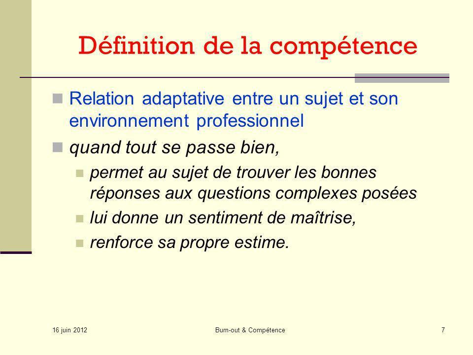 16 juin 2012 Burn-out & Compétence7 Définition de la compétence Relation adaptative entre un sujet et son environnement professionnel quand tout se pa