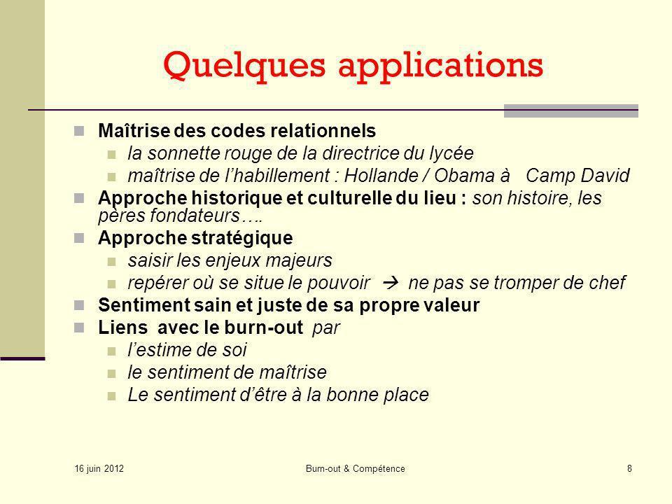 16 juin 2012 Burn-out & Compétence8 Quelques applications Maîtrise des codes relationnels la sonnette rouge de la directrice du lycée maîtrise de lhab