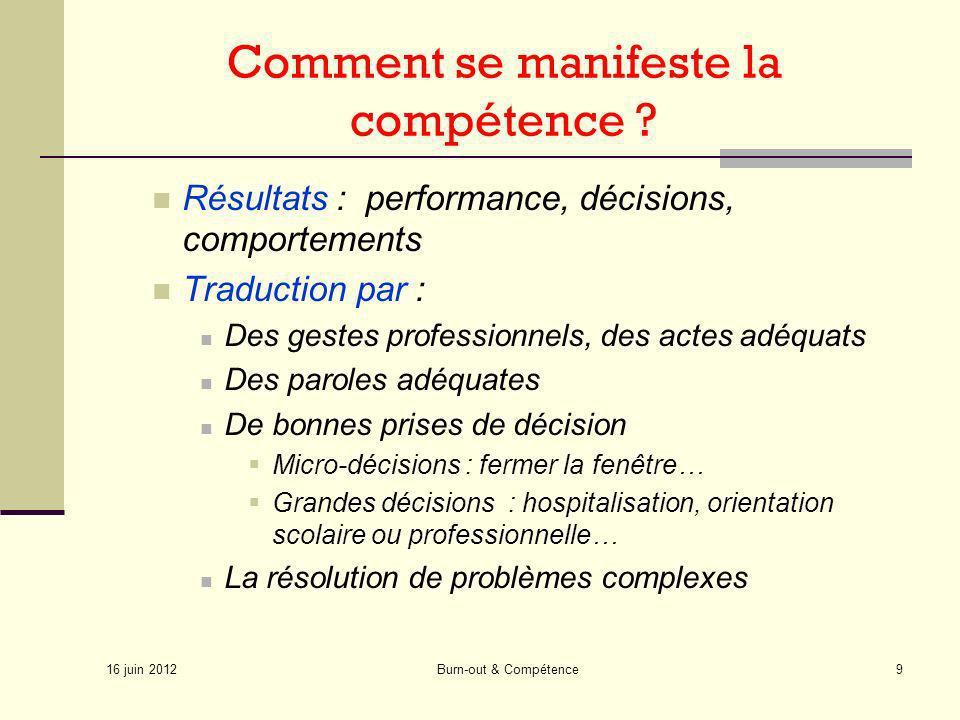 16 juin 2012 Burn-out & Compétence9 Comment se manifeste la compétence ? Résultats : performance, décisions, comportements Traduction par : Des gestes