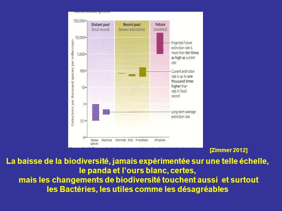 La baisse de la biodiversité, jamais expérimentée sur une telle échelle, le panda et lours blanc, certes, mais les changements de biodiversité touchen