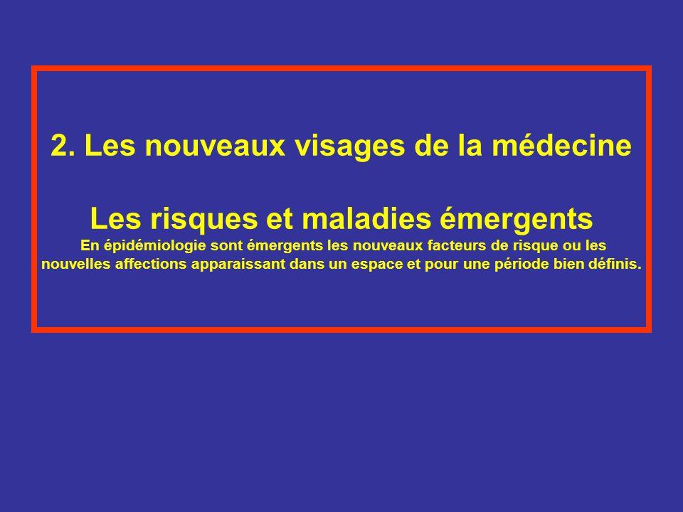 2. Les nouveaux visages de la médecine Les risques et maladies émergents En épidémiologie sont émergents les nouveaux facteurs de risque ou les nouvel