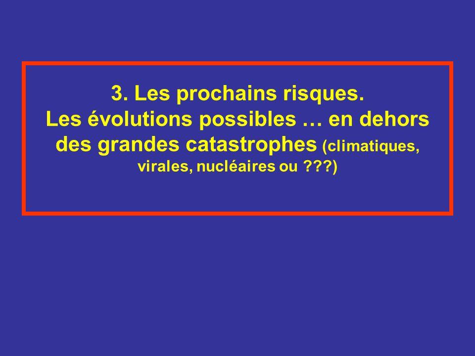 3. Les prochains risques. Les évolutions possibles … en dehors des grandes catastrophes (climatiques, virales, nucléaires ou ???)