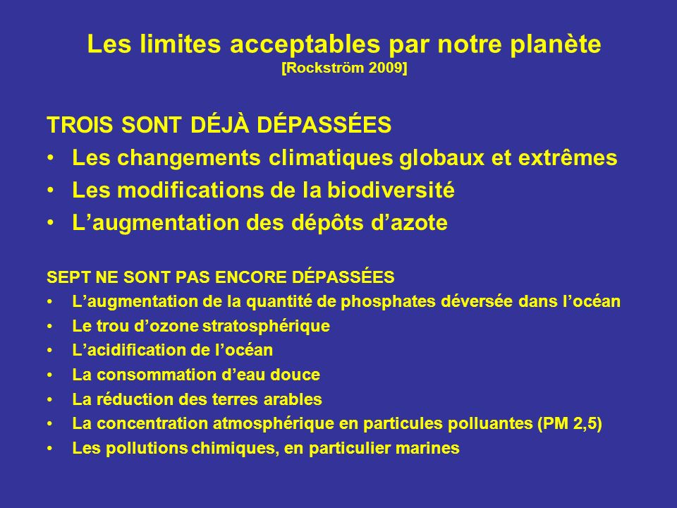 Les limites acceptables par notre planète [Rockström 2009] TROIS SONT DÉJÀ DÉPASSÉES Les changements climatiques globaux et extrêmes Les modifications