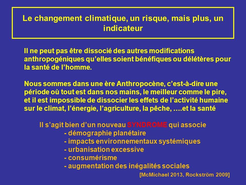 Le changement climatique, un risque, mais plus, un indicateur Il ne peut pas être dissocié des autres modifications anthropogéniques quelles soient bé