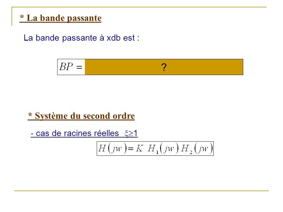 * La bande passante La bande passante à xdb est : * Système du second ordre - cas de racines réelles 1 ?
